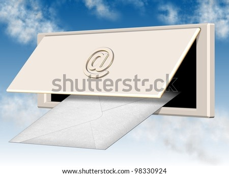 a white letter going through letterbox hole with at symbol on the lid / email - stock photo