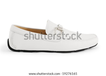 A white modern moccasin isolated on white