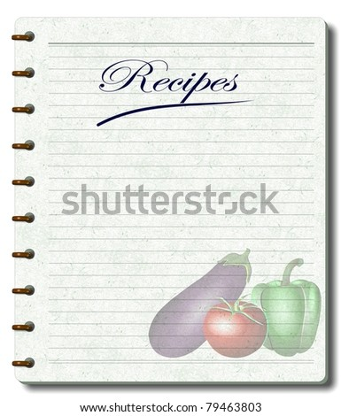 A white note book designed as a recipe book with illustration of vegetables printed on its pages / recipe book