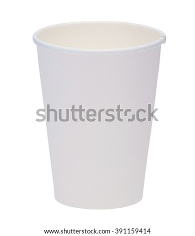 A white paper cup isolated on white background.