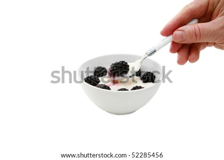 a white persons hand holds a white spoon of vanilla yogurt with a blackberry isolated on white