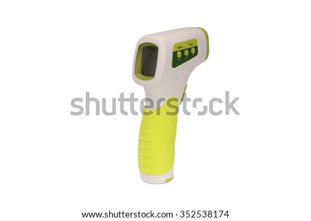 a white plastic infrared thermometer gun with yellow handle and digital LCD monitor at back for non-contact temperature measurement for human body or an object - stock photo