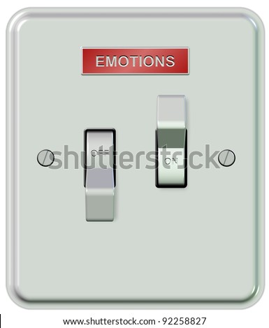 A white plastic light switch turned on and off with a sticker spelling emotions / Emotions on and off - stock photo