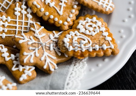 A white plate of homemade gingerbread cookies - stock photo