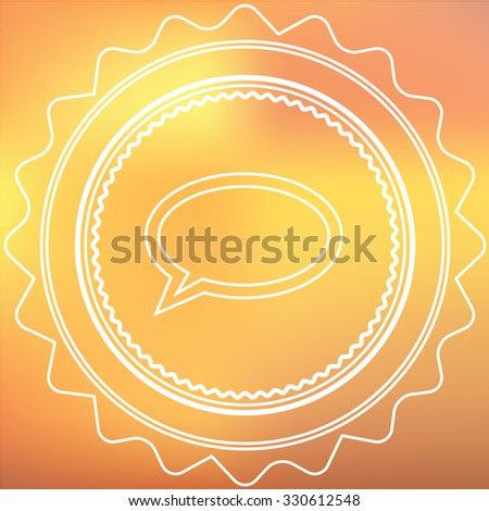 A White Retro Icon Isolated on a Red and Yellow Background -  Speech Bubble