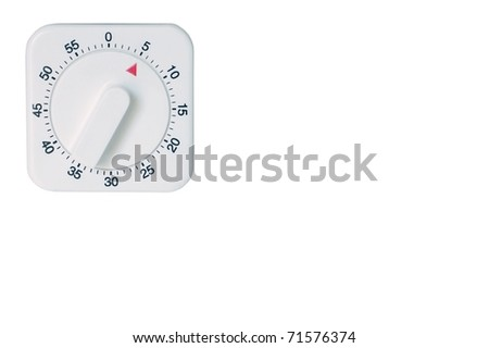 A White, Square Kitchen Timer Set for 5 (five) Minutes, Isolated on White.