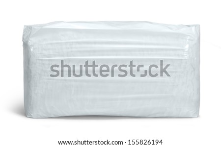a white thermoplastic foil package in white back with shadow - stock photo