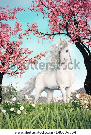 A white unicorn standing in a beautiful park like setting with grass flowers and cherry blossom trees. - stock photo