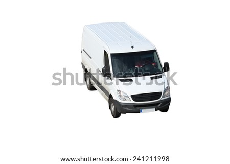 A white van isolated on a white background - stock photo