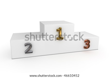 a white victory podium with numbers in gold, silver, bronze - to be used as a template for own designs - stock photo