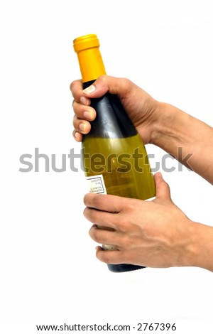 A white wine bottle isolated against a white background