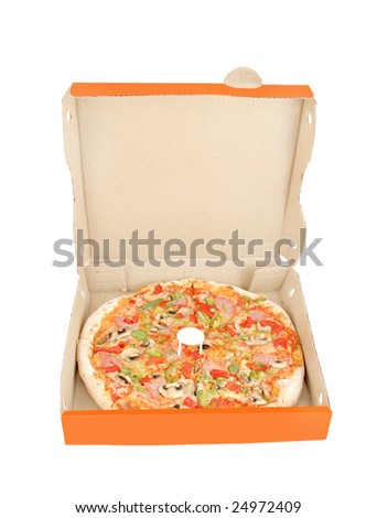 a whole ham with mushrooms and colorful pepper pizza inside delivery box on a white background