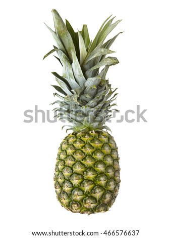 A whole ripe pineapple isolated on a white background