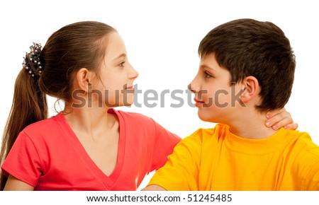 A wicked girl is holding a boy's neck; isolated on the white background - stock photo