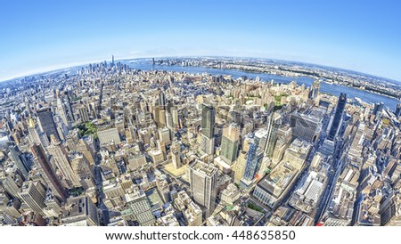 A wide angle image of a New York Manhattan - stock photo