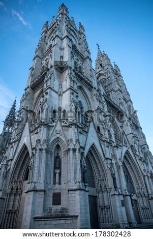 A wide angle of the left side of the Basilica of Quito, Ecuador - stock photo