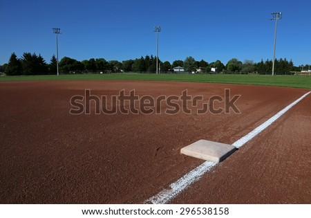 A wide angle shot of a baseball field from First base.  - stock photo