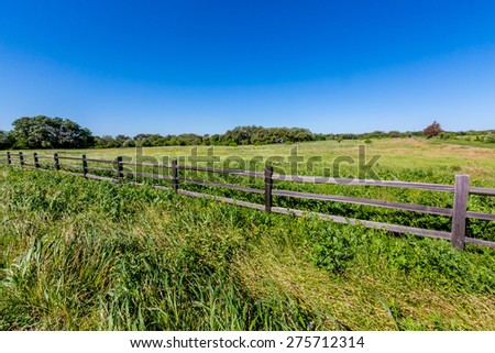 A Wide Angle View of an Old Wooden Fence on a Farm with a Beautiful Field with some Texas Wildflowers. - stock photo