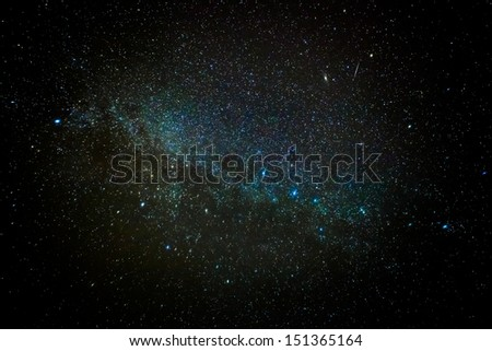 A wide field astrophotographic image showing real stars and cluster nebula - stock photo