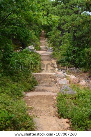 A wide hiking path in acadia national park in Maine - stock photo