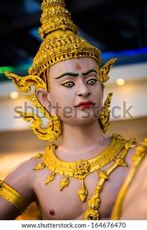 A wild eyed statue in Thailand/ Thailand Warrior/ A Warrior statue in Bangkok Thailand - stock photo