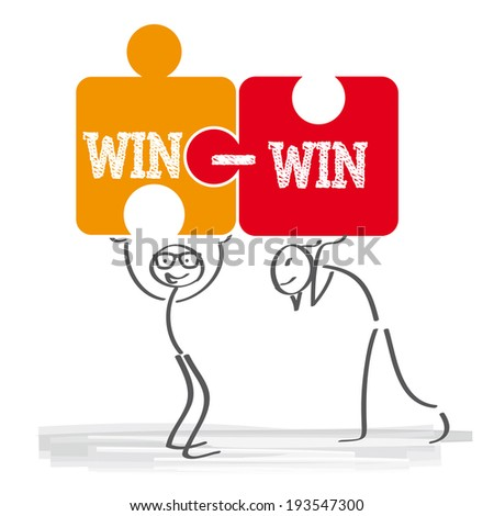 a win-win strategy is a conflict resolution process that aims to accommodate all disputants - stock photo