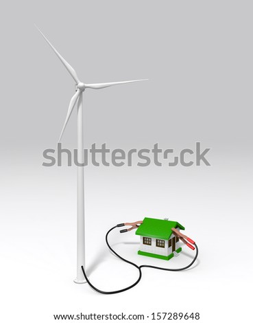 a wind generator is supplying energy to a small house with two terminals connected on the roof. On a white ground