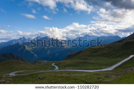 a winding mountain road - Austria - stock photo