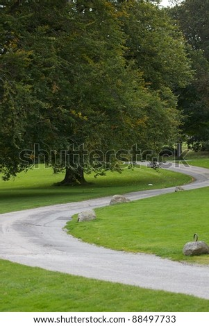 A winding path in the grounds of Castle Fraser, Scotland