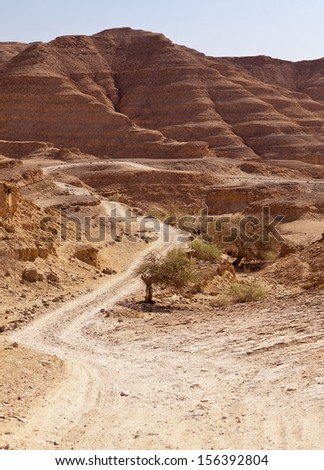 A winding road meanders through red sandstone hills and valleys in the Negev Desert in Israel. - stock photo