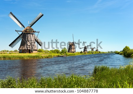 A windmills at Kinderdijk. GPS information is in the file - stock photo