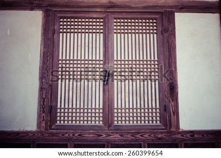 A window frame, Old Korean traditional window, wood window, process color - stock photo