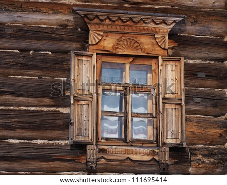 A window of a traditional russian house - stock photo