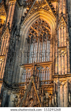 A window of the Cathedral of Cologne in Germany. - stock photo