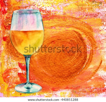 A wine collage for a restaurant menu or tasting invitation: a watercolor drawing of a glass of white wine on an abstract background texture with golden colored brush strokes; with a place for text - stock photo