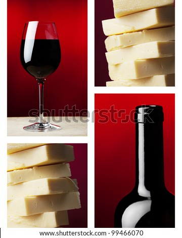 a wine glass with red wine and dark wine bottle  and yellow caw cheese - stock photo