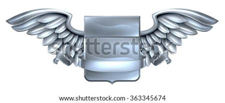 A winged silver steel metal shield heraldic heraldry coat of arms design with a banner scroll - stock photo