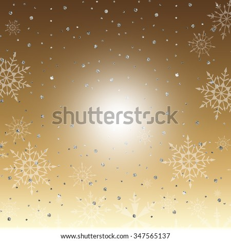A winter background with silver sparkles and snowflakes on gold gradient background.
