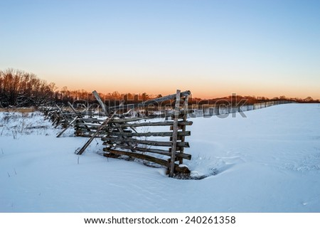 A Winter look with fresh snow of Monmouth Battlefield in Freehold New Jersey. - stock photo
