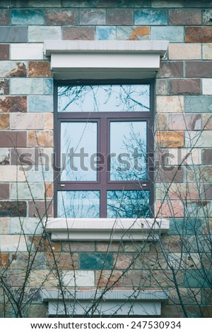 A winter scene of window on bricks wall and tree branchs, Filtered process. - stock photo