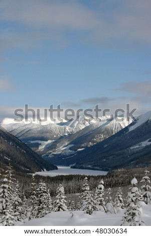 A winter view near Whistler, BC, Canada. - stock photo