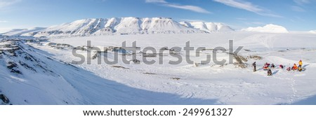 A winter wilderness - mountainous landscape on the island of Spitsbergen, Svalbard, Norway