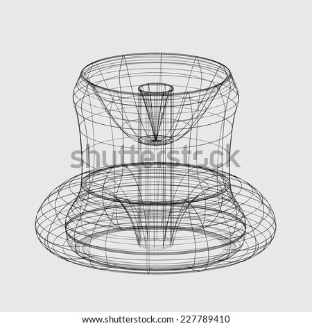 A Wireframe design isolated on a grey background - stock photo