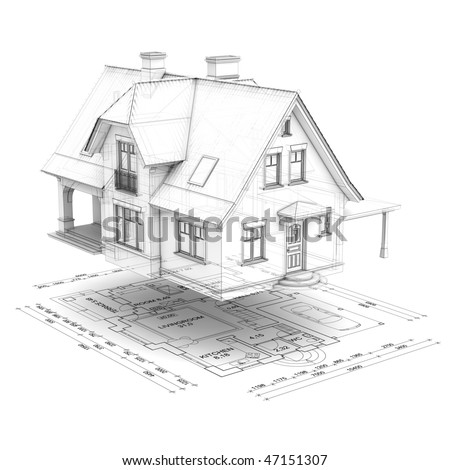 a wireframe house raised above the floor plan, isolated on white background - stock photo