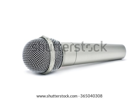 a wireless microphone on a white background - stock photo
