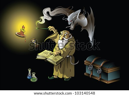 A wizard summoning ghostly demon, casting spells with magic wand, raster from vector illustration - stock photo