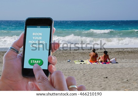 A woman about to book holidays online on a travel agency with a mobile phone