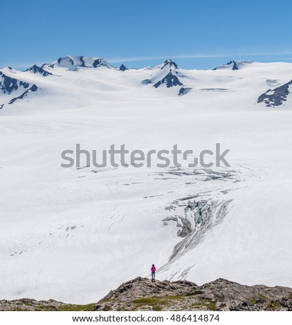 A woman and Harding Icefield