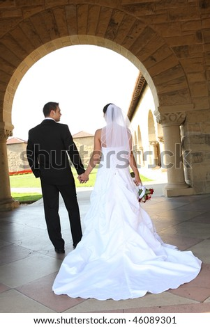 A woman and man, bride and groom at wedding ceremony at church