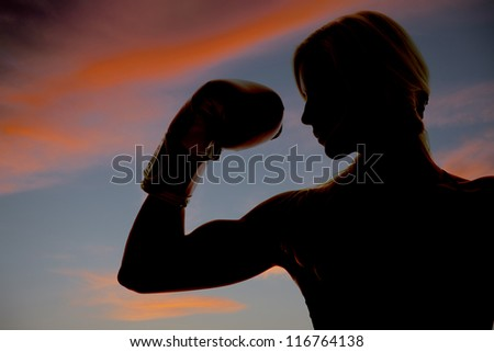 A woman boxer is silhouetted in the colorful sky showing one arm.